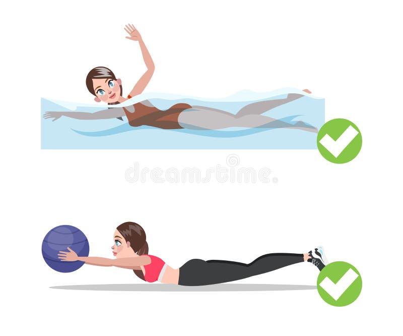 Женщина делая тренировку на шарике фитнеса в спортзале иллюстрация вектора