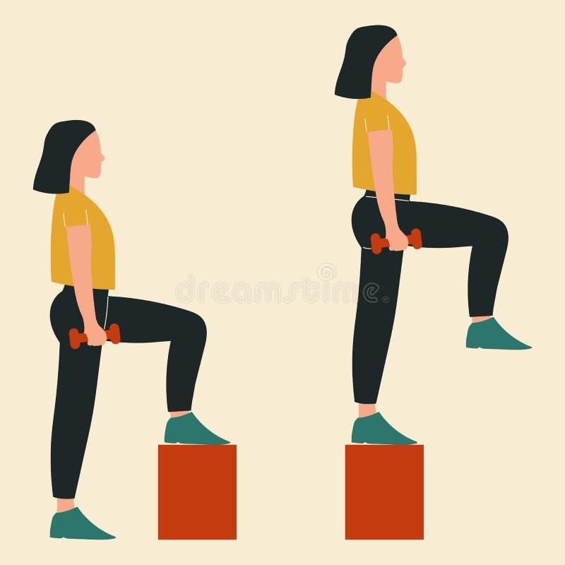 Женщина делая шаги-вверх Иллюстрации тренировок и разминок glute r иллюстрация штока