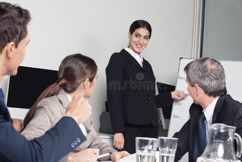 Женщина дела давая представление стоковое фото