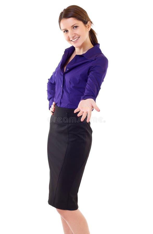 женщина дела приветствующая стоковые изображения rf