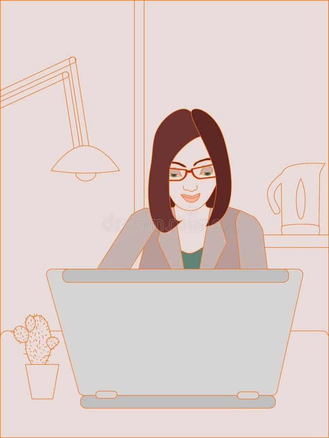 Женщина дела работая на компьтер-книжке. иллюстрация штока