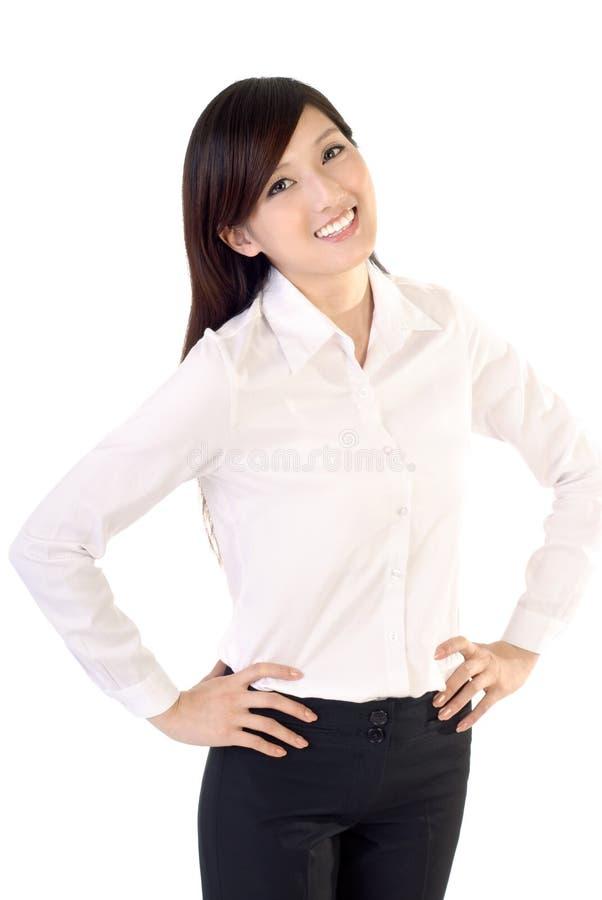 женщина дела счастливая сь стоковая фотография