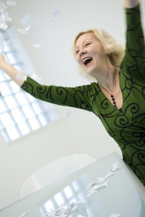 женщина дела excited стоковое изображение