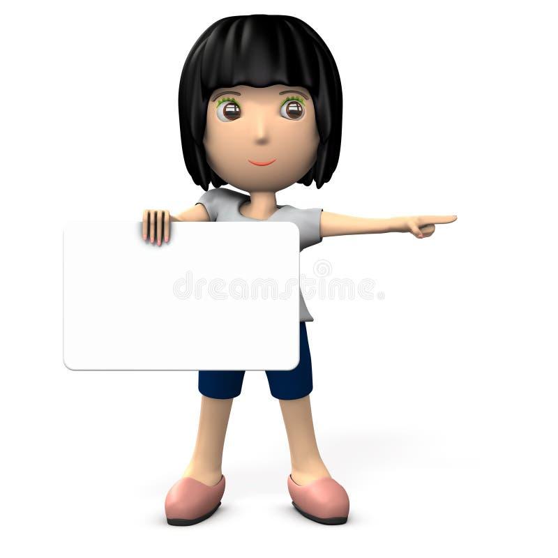 Женщина держа доску для сообщений Она указывает к правильной позиции иллюстрация штока