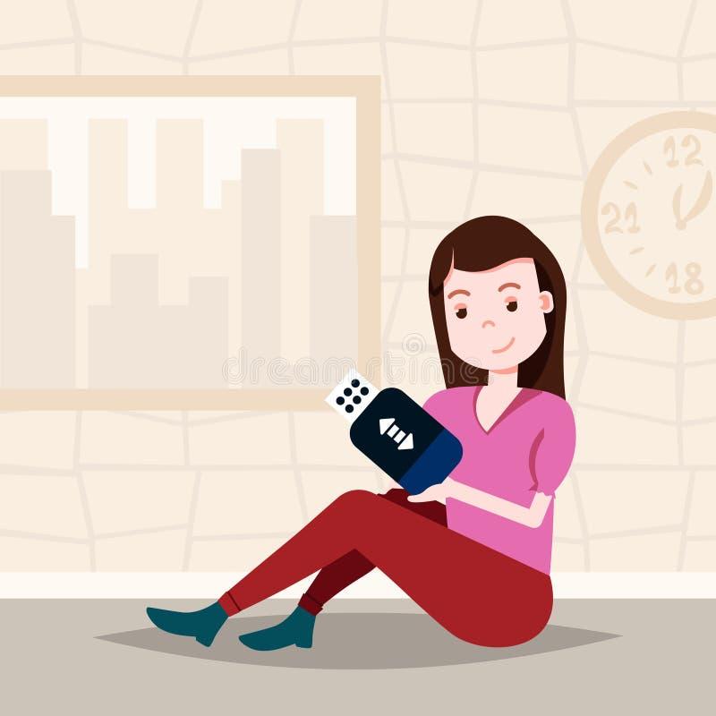 Женщина держа шаблон характера привода usb сидя для проектной работы и анимации плоско иллюстрация вектора