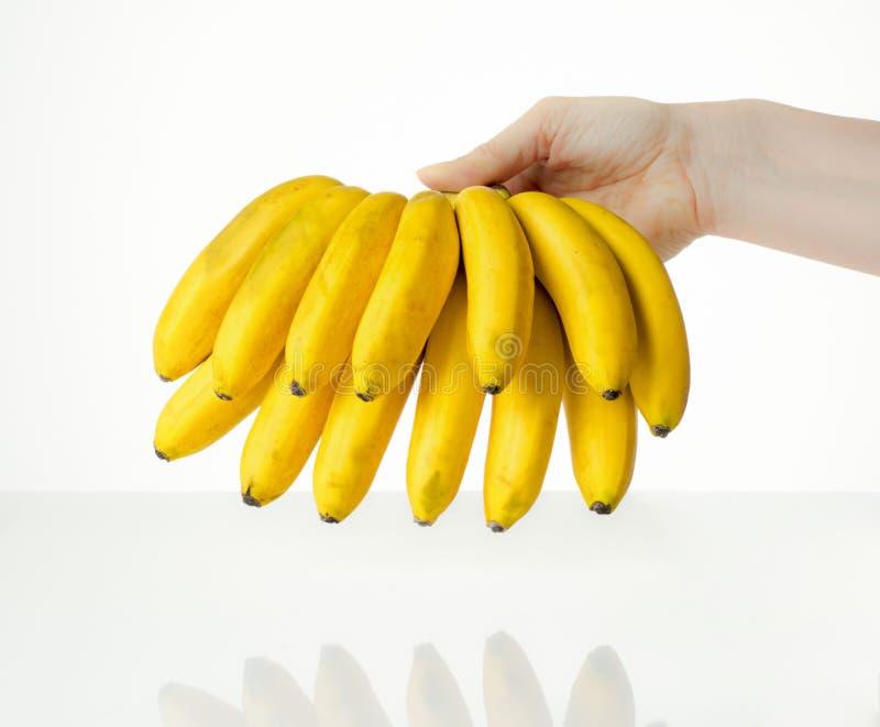 Женщина держит желтые зрелые bananes в ее руках стоковые фото