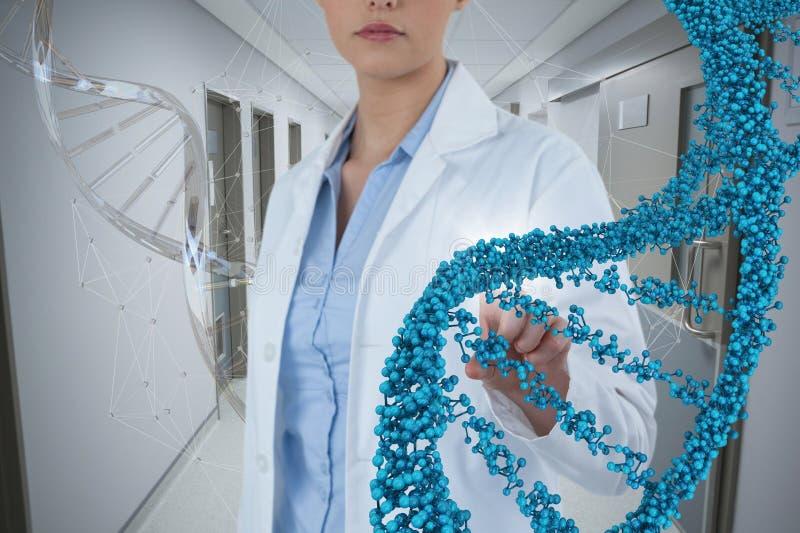 Женщина доктора взаимодействуя с стренгой дна 3D стоковые фотографии rf