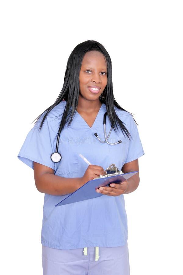 женщина доктора над белизной стоковое фото