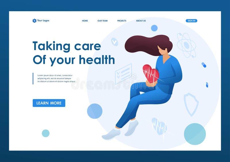 Женщина-доктор, держащая бьющееся сердце, которая заботится о здоровье пациента Концепция здравоохранения Первая страница бесплатная иллюстрация