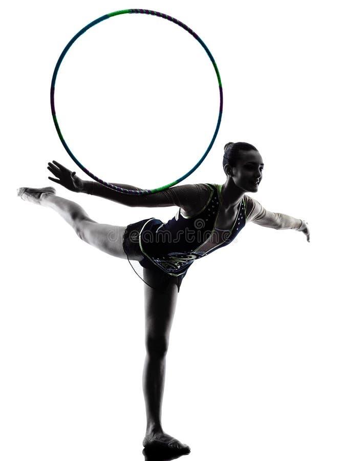 Женщина девушки teeenager звукомерной гимнастики стоковая фотография rf