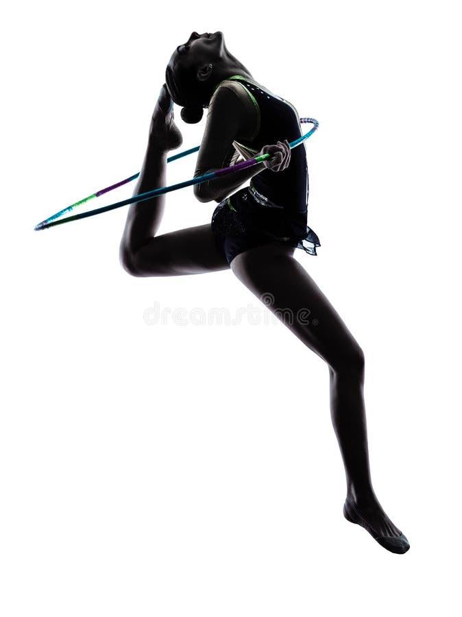 Женщина девушки teeenager звукомерной гимнастики стоковое изображение rf