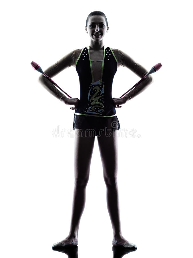 Женщина девушки teeenager звукомерной гимнастики стоковое фото rf