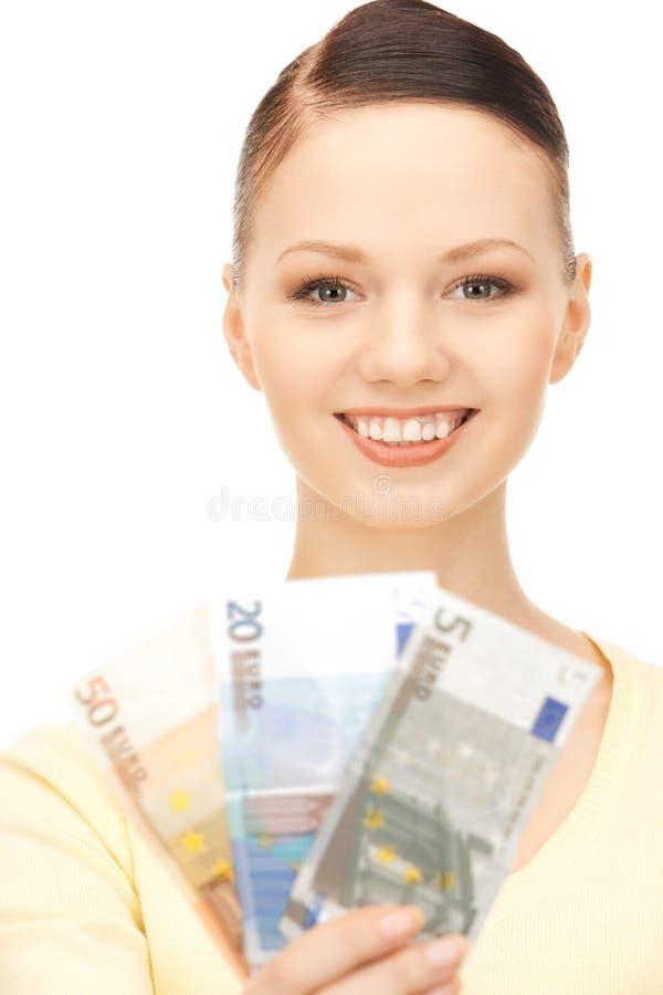 женщина дег евро наличных дег симпатичная стоковые изображения