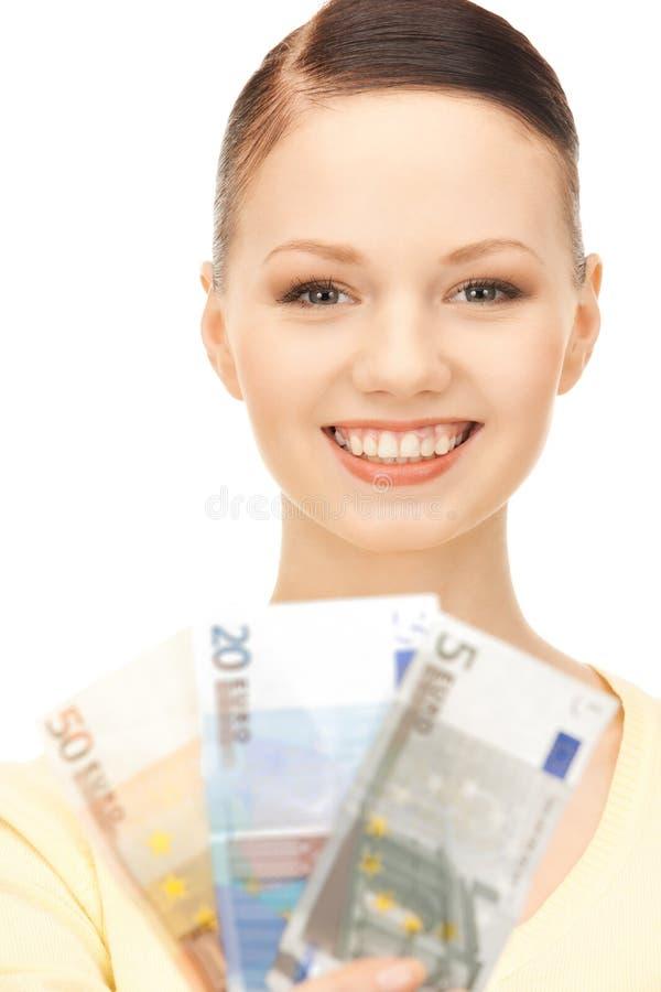 женщина дег евро наличных дег симпатичная стоковые изображения rf