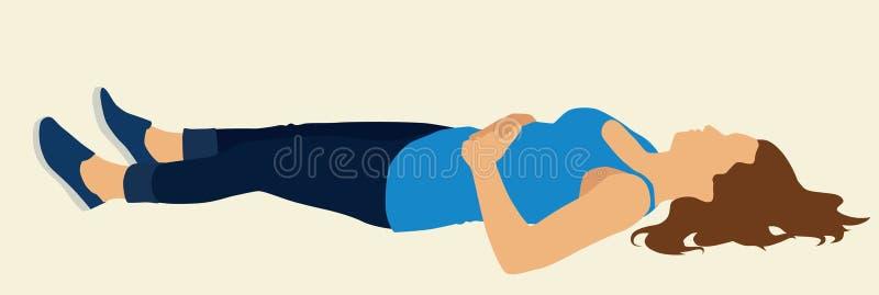 Женщина лежа на ей назад иллюстрация штока