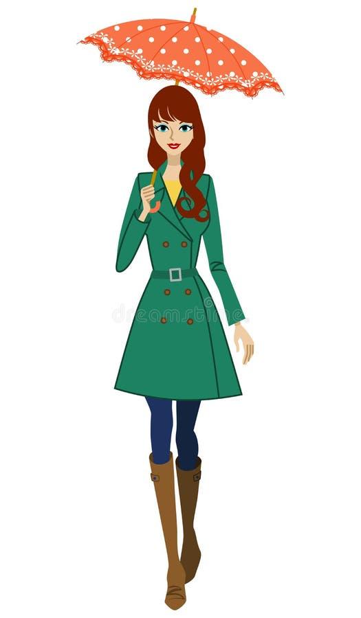Женщина держа зонтик, вид спереди бесплатная иллюстрация
