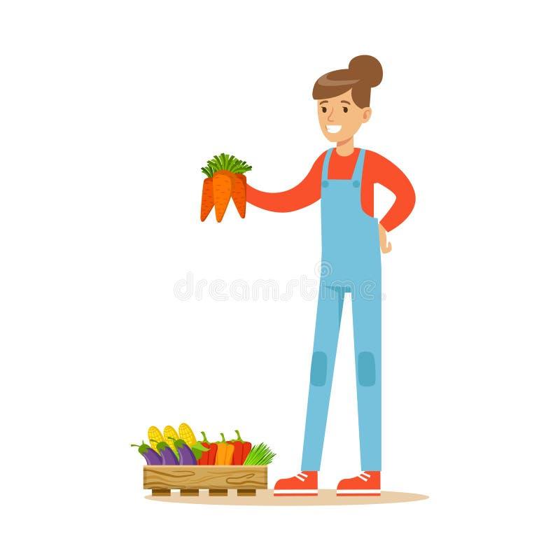 Женщина держа пук морковей, фермера работая на ферме и продавая на естественном органическом товарном рынке иллюстрация вектора