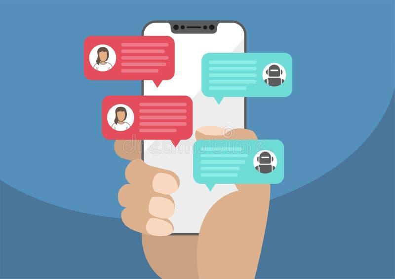Женщина держа свободный от шатон/frameless smartphone в руке и беседуя с роботом средства болтовни Уведомление сообщений болтовни иллюстрация штока