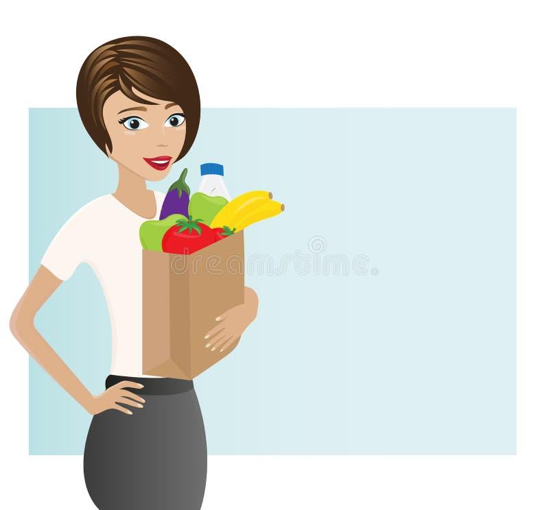 Женщина держа сумку с здоровыми бакалеями стоковое фото rf