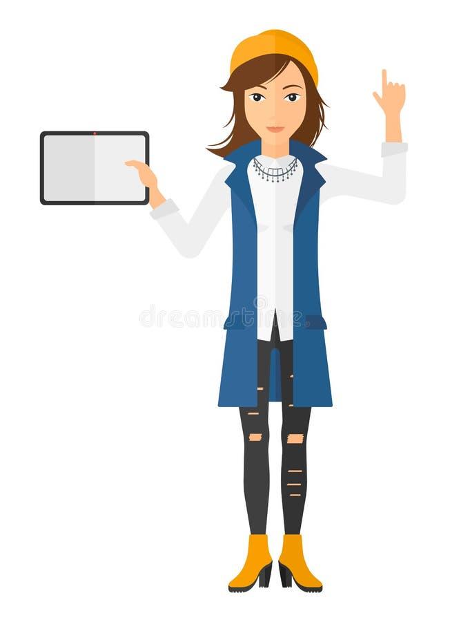 Женщина держа таблетку иллюстрация вектора