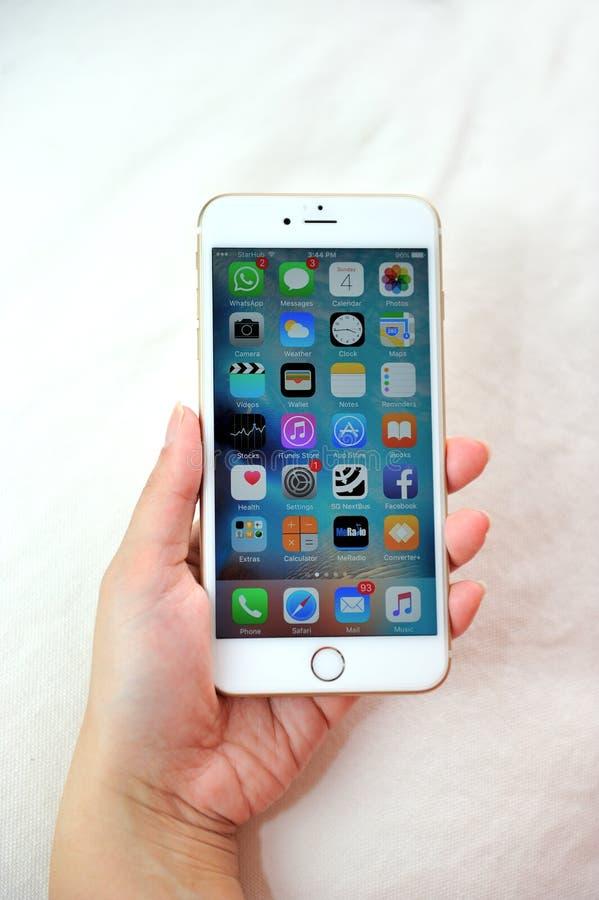Женщина держа iPhone 6S Яблока плюс стоковое фото
