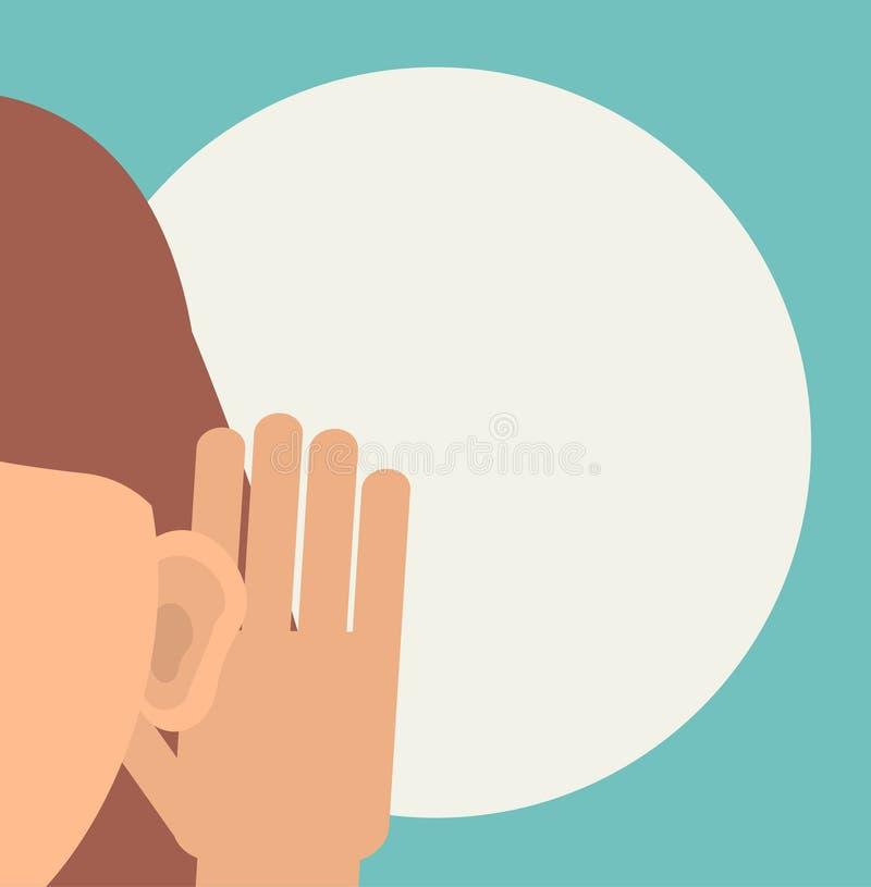 Женщина держит ее руку около уха и слушать бесплатная иллюстрация