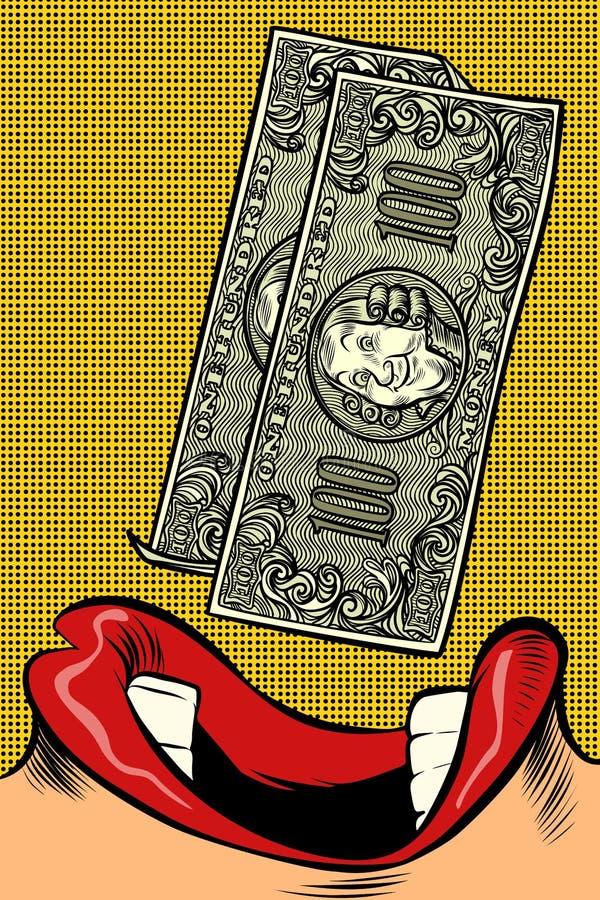Женщина ест деньги стиль искусства шипучки красивейшие равные женские зубы рта губ иллюстрация штока