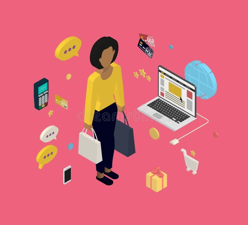 Женщина делая ходить по магазинам онлайн иллюстрация штока