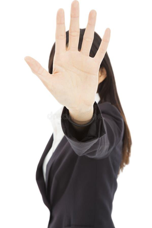 Женщина делая жест знака стопа стоковые изображения