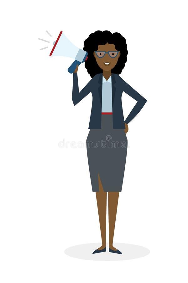 Женщина дела с мегафоном бесплатная иллюстрация