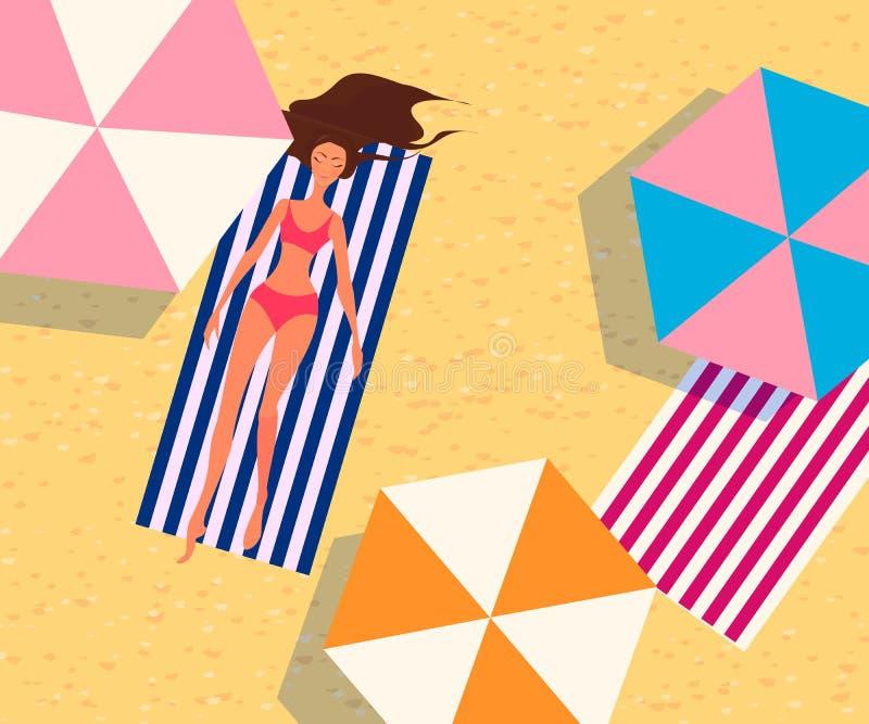 Женщина загорает на пляже иллюстрация штока