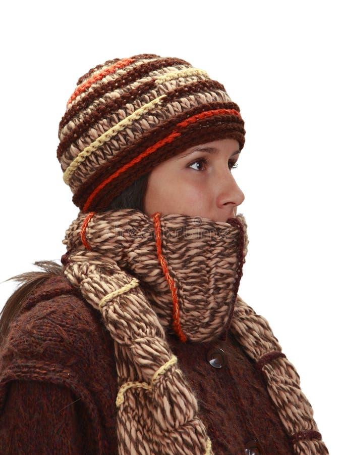 женщина зимы портрета стоковое изображение