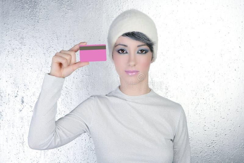 женщина зимы серебра пинка визитной карточки стоковое изображение