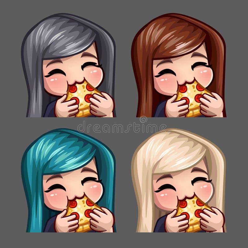 Женщина значков эмоции счастливая ест пиццу с длинными волосами для социальных сетей и стикеров иллюстрация штока