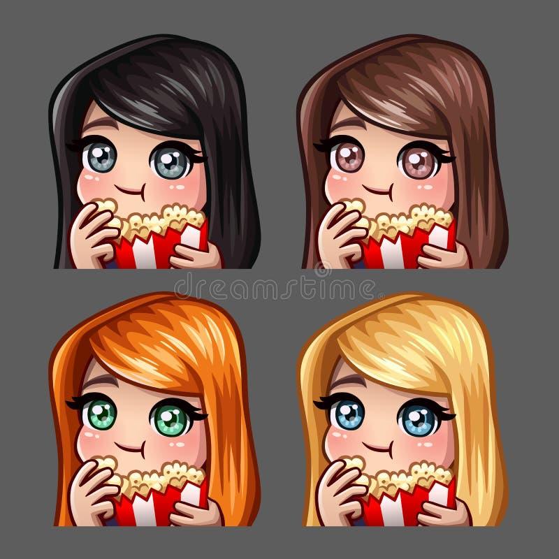 Женщина значков эмоции счастливая ест попкорн с длинными волосами для социальных сетей и стикеров бесплатная иллюстрация