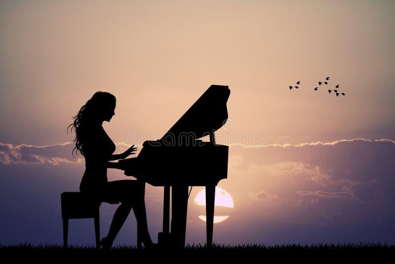 Женщина играет рояль на заходе солнца иллюстрация штока