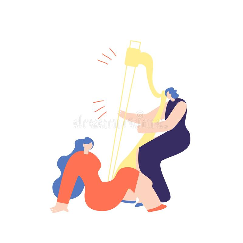 Женщина играя арфу к вектору музыки девушки слушая иллюстрация вектора