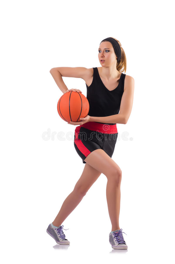 Женщина играя баскетбол изолированный на белизне стоковое фото