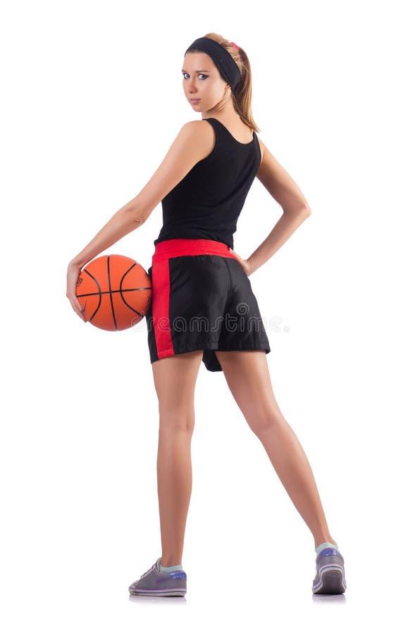 Женщина играя баскетбол изолированный на белизне стоковые фотографии rf