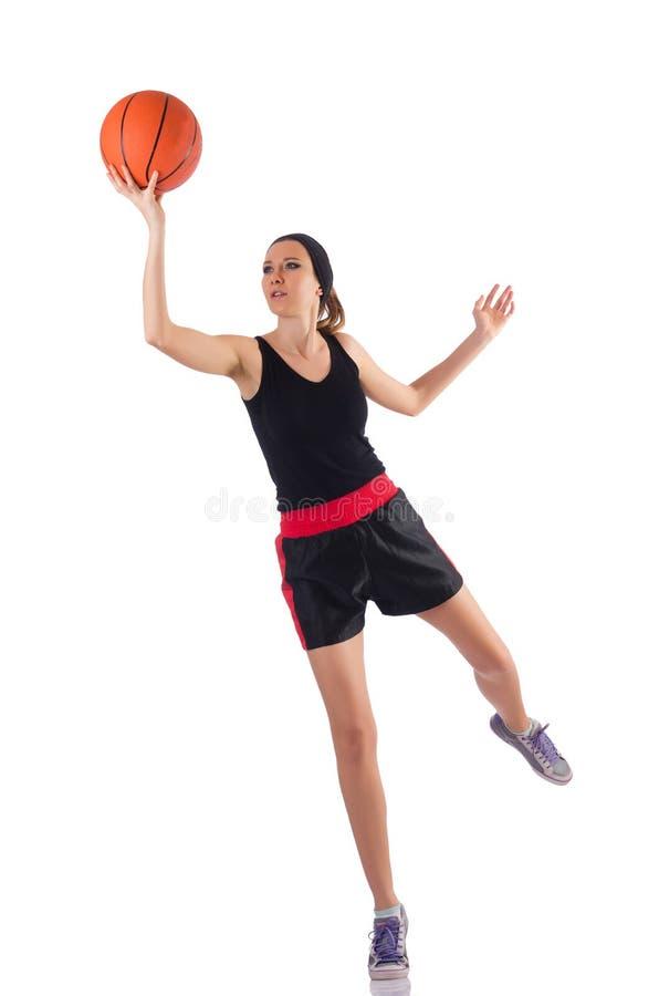 Женщина играя баскетбол изолированный на белизне стоковые фото