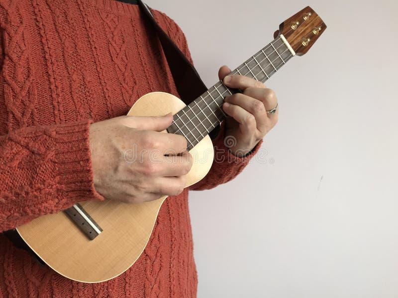 Женщина играя гавайскую гитару сопрано внутри помещения стоковые фото