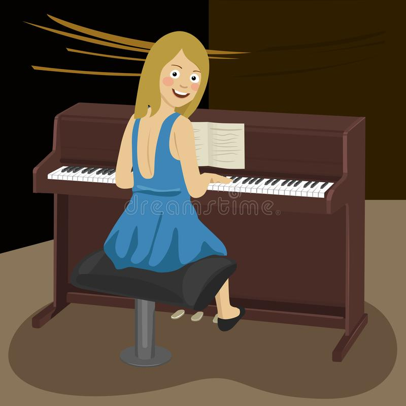 Женщина играя рояль в концертном зале иллюстрация штока
