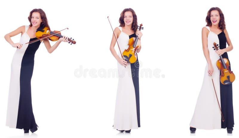 Женщина играя скрипку изолированную на белой предпосылке стоковое изображение rf