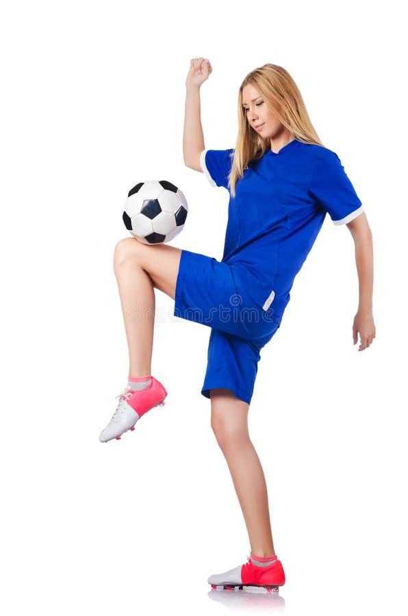Женщина играя футбол стоковая фотография rf