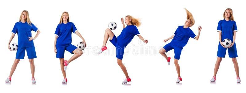 Женщина играя футбол на белизне стоковые изображения rf