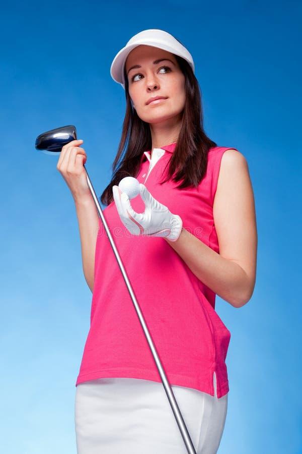 женщина игрока в гольф стоковые фотографии rf