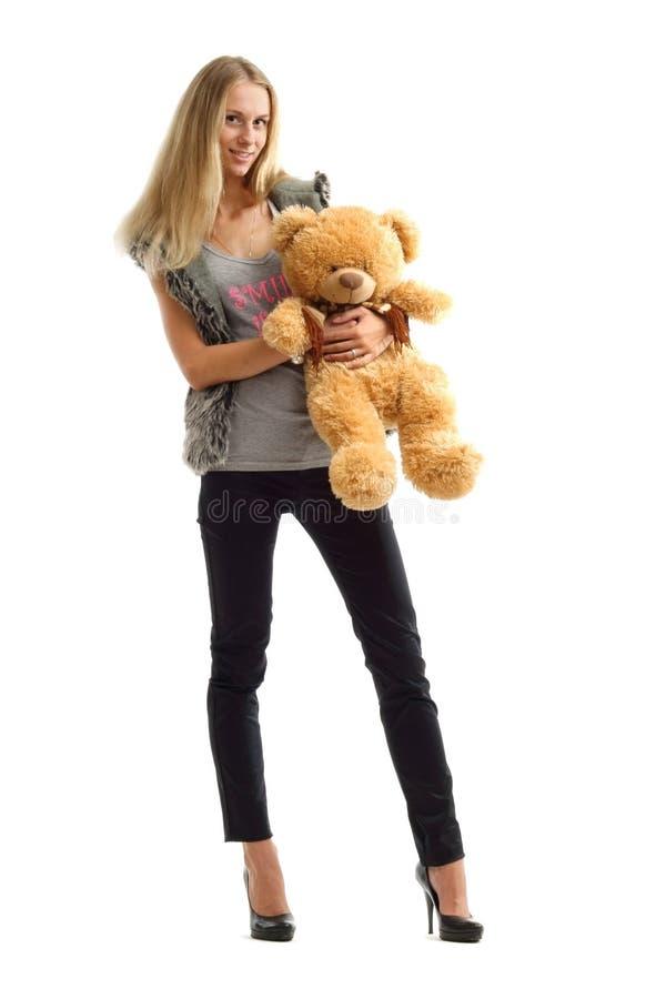 женщина игрушечного медведя белокурая милая стоковое фото