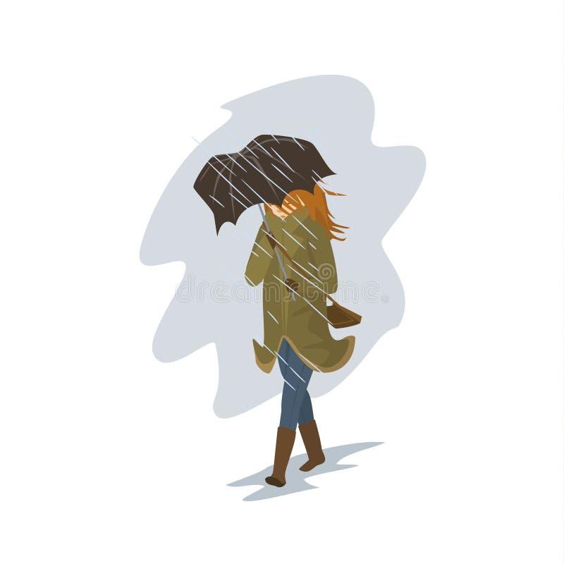 Женщина идя в дождь и ветер бушуют иллюстрация штока