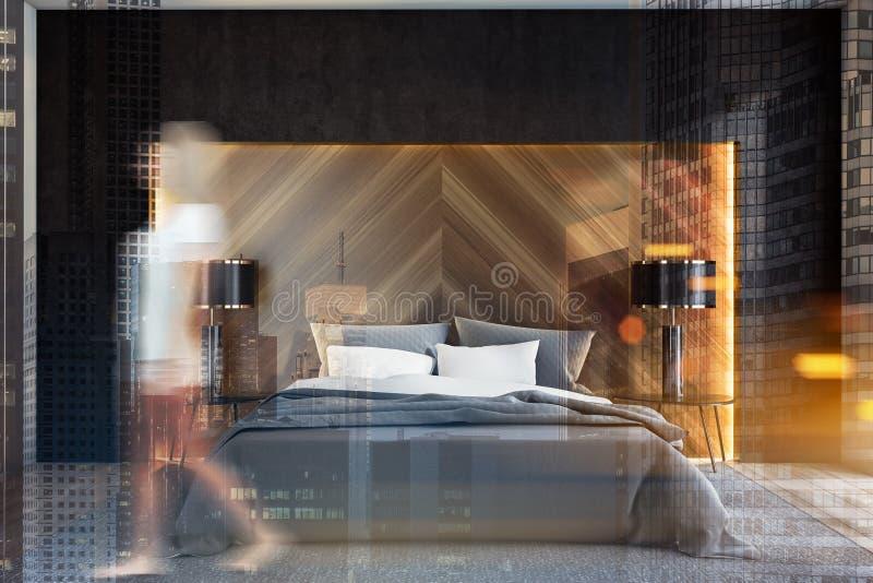 Женщина идя в черную и деревянную спальню иллюстрация вектора