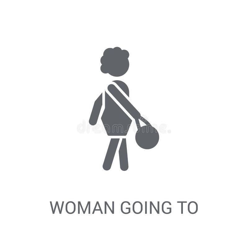 Женщина идя работать значок Ультрамодная женщина идя работать concep логотипа иллюстрация штока